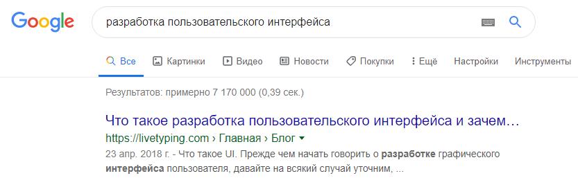 Позиции статей в поисковой выдаче Google