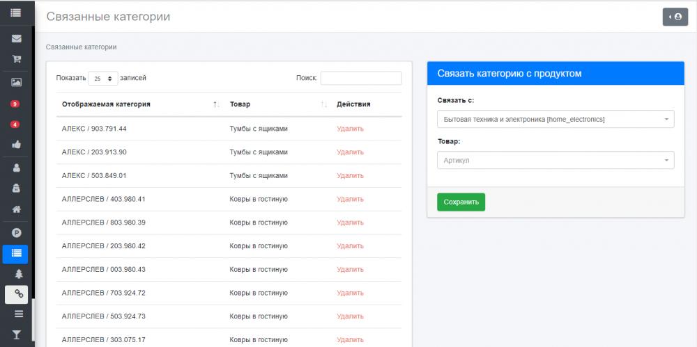 Панель администратора - каталог