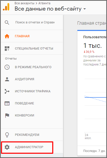 Инструкция:  доступ в Google Analytics